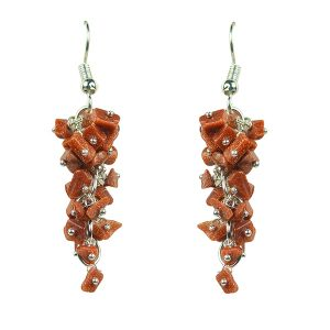 Goldstone Crystal Earrings Natural Chip Beads Earrings for Women, Girls (Color :Brown)