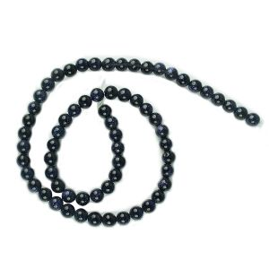 Goldstone Blue 6 mm Round Loose Beads for Jewelery Making Bracelet, Necklace / Mala