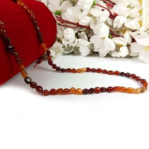 Gomed/Hessonite Tumble Bead Crystal Stone Mala/Necklace for Unisex (Color : Red)