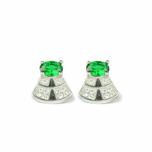 92.5 Sterling Silver Stud Earring Green Crystal Earrings for Women and Girls