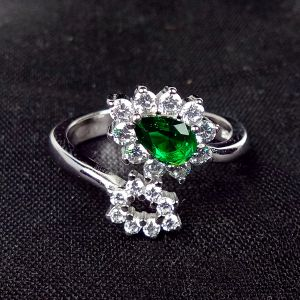 Reiki Crystal Products 925 Sterling Silver Ring Green Crystal Ring Silver Adjustable Ring for Girls Women
