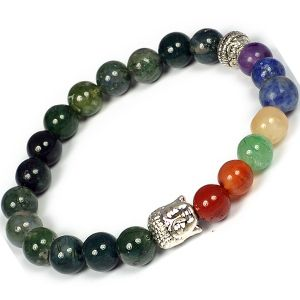 Moss Agate with 7 Chakra Buddha Head Combination Bracelet 8 mm Round Bead Bracelet