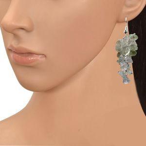 Green Amethyst  Crystal Earrings Natural Chip Beads Earrings for Women, Girls (Color :Light Green)