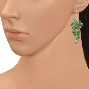 Green Apatite Earrings Natural Chip Beads Earrings for Women, Girls