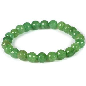 Green Aventurine Certificate 8 mm Faceted Bead Bracelet