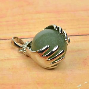Green Jade Pendant Hand Ball Shape Pendant for Reiki Healing and Crystal Healing Stone Pendant (Color : Green)
