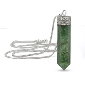 Green Aventurine Pencil Pendant With Silver Polished Metal Chain