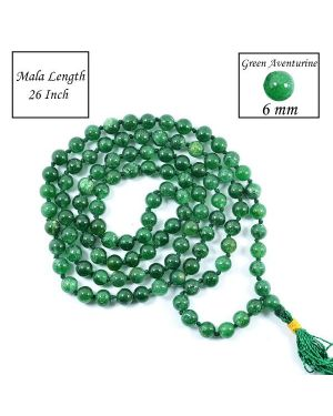 Green Aventurine 6 mm 108 Round Bead Mala