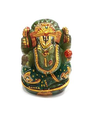 Natural Green Aventurine Crystal Stone Ganesha Idol  Size 2.5 to 3 Inch Approx (Color : Green)