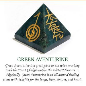 Green Aventurine Reiki Symbol Engraved Pyramid 30 mm Approx
