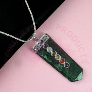 Green Aventurine 7 Chakra Flat Stick Pendant With Silver Polished Metal Chain