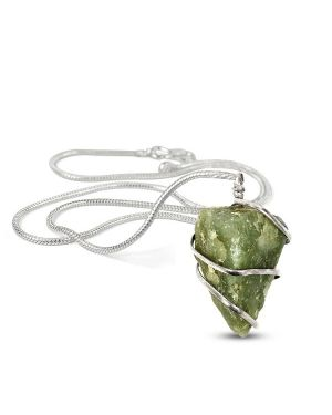 Green Aventurine Natural Wire Wrapped Pendant with Chain
