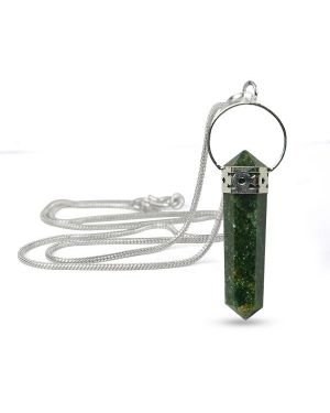 Green Aventurine Double Terminated Pencil Pendant With Silver Ploshed Metal Chain