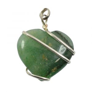 Green Aventurine Heart Wire Wrapped Pendant
