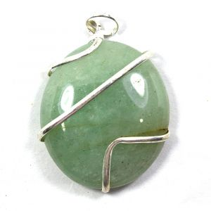 Green Aventurine Oval Wire Wrapped Pendant