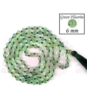 Green Flourite Crystal Stone  6 mm Round Beads Mala & Necklace