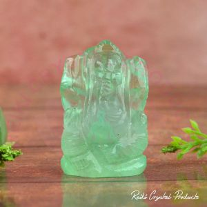 Natural Green Fluorite Crystal Stone Ganesha Idol