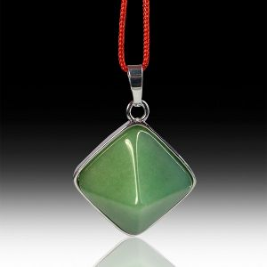 Green Jade Pyramid Shape Pendant with Metal Polished Chain