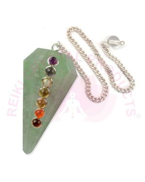 Green Jade With 7 Chakra Six Faceted Dowser / Pendulum