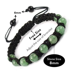 Green Jade 8mm Beads Thread Bracelet