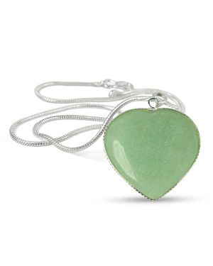 Green Jade Heart Shape Pendant Size 30-35 mm with Chain