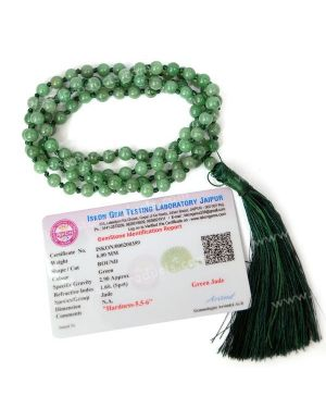 Certified Green Jade 6 mm 108 Round Bead Mala with Certificate