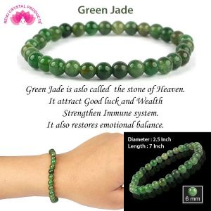 Green Jade 6 mm Round Bead Bracelet