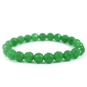 Green Jade 8 mm Faceted Bracelet