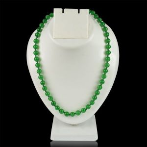 Green Jade 8 mm Round Bead Mala & Necklace (108 Beads & 32 Inch Approx)
