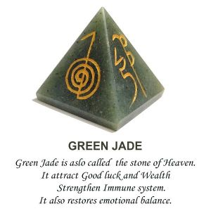 Green Jade Reiki Symbol Engraved Pyramid 40 mm Approx