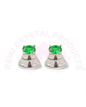 Silver Stud/Earring Green Color for Women Girls