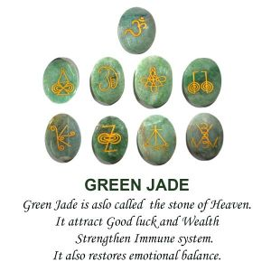 Green Jade Karuna Reiki Symbol Engraved Set of 9 pc