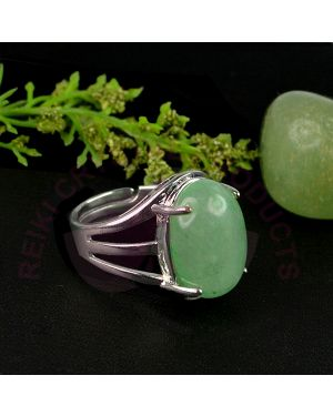 Green Jade Gemstone German Silver Ring for Unisex (Color : Silver & Green)