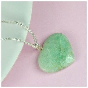 Green Jade Heart Shape Pendant - Size 25-30 mm approx