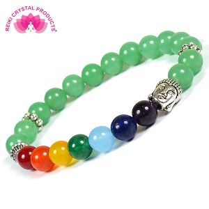Green Jade & 7 Chakra Buddha Head Combination 8 mm Bead Bracelet