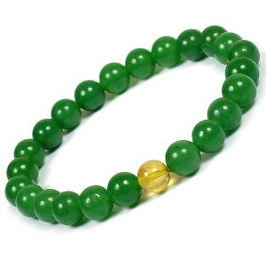 Green Jade Bracelet with Citrine Single Stone Bracelet