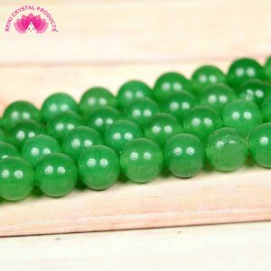 Green Jade 8 mm Round Loose Beads for Jewelery Making Bracelet, Necklace / Mala