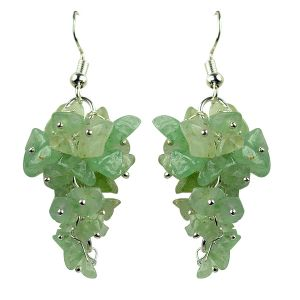 Green Jade Crystal Earrings Natural Chip Beads Earrings for Women, Girls (Color :Green)