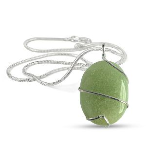 Green Jade Oval Wire Wrapped Pendant with Silver Polished Chain