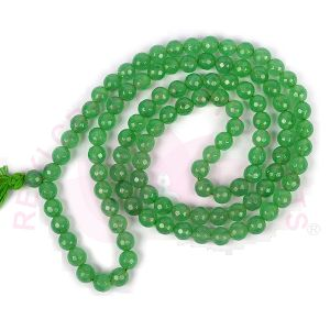 Green Jade 8 mm Diamond Cut Mala & Necklace