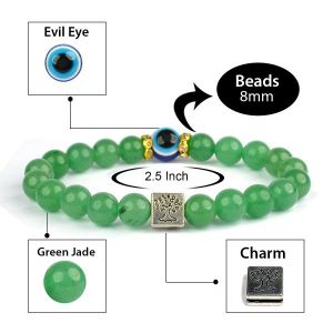 Green Jade with Evil Eye 8 mm Bead Charm Bracelet