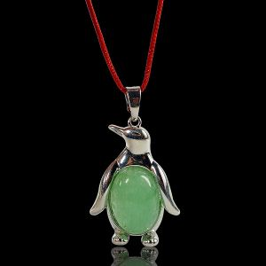 Green jade Penguin Shape Pendant with Metal Polished Chain