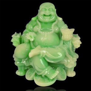 Vastu / Feng Shui Sitting Laughing Buddha with Coins & Potli for Wealth