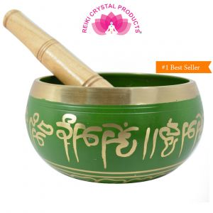 Green Singing Bowl 5 Inch with Wooden Stick