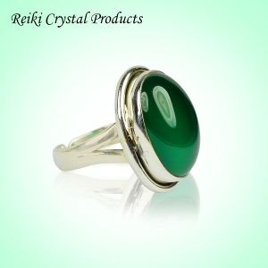 92.5 Silver Ring Green Onyx Gemstone Adjustable Ring for Unisex (Color : Green)