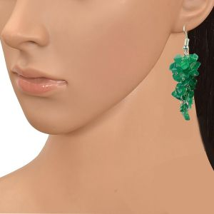 Green Onyx Crystal Earrings Natural Chip Beads Earrings for Women, Girls (Color :Green)