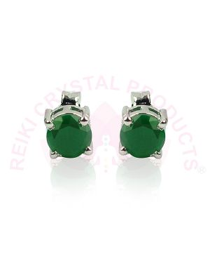 Green Onyx Silver Stud/Earring Gemstone for Women & Girls