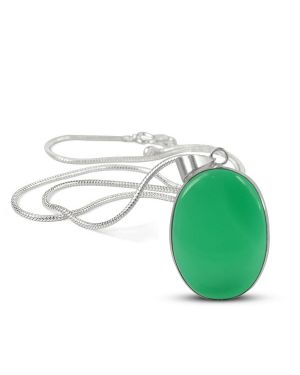 AAA Quality Green Onyx Oval Pendant With Silver Polished Metal Chain