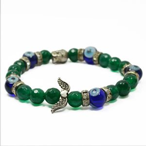 Green Aventurine with Evil Eye 8 mm Faceted Bead Charm Bracelet