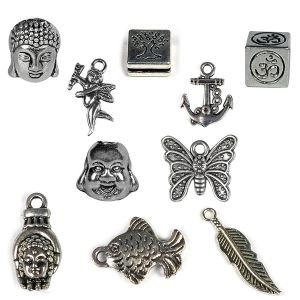 Metal Hanging Charm and Pendants - 10 Pieces (Color : Silver)
